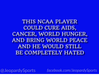 "Sports, Grayson Allen, and Cancer: THIS NCAA PLAYER  COULD CURE AIDS,  CANCER, WORLD HUNGER,  AND BRING WORLD PEACE  AND HE WOULD STILL  BE COMPLETELY HATED  @JeopardySportsfacebook.com/JeopardySports ""Who is: Grayson Allen?"" #JeopardySports #Duke https://t.co/MGPaNLcQNy"