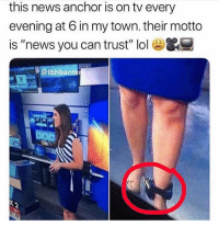 "News you can almost trust 😂: this news anchor is on tv every  evening at 6 in my town. their motto  is ""news you can trust"" lol&  @tbhbante News you can almost trust 😂"