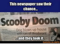 Saw, House, and Pictures: This newspaper saw their  chance..  Scooby Doom  Dog blows up house  with can of deodorant  GAGZILLA.INFO 75 Random Pictures Of The Day