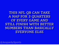 "Aaron Rodgers, Nfl, and Sports: THIS NFL QB CAN TAKE  A NAP FOR 3 QUARTERS  OF EVERY GAME AND  STILL FINISH WITH BETTER  NUMBERS THAN BASICALLY  EVERYONE ELSE  @JeopardySports ""Who is: Aaron Rodgers?"" #JeopardySports #CHIvsGB https://t.co/iAjz9L6gtK"