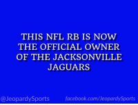 "Derrick Henry, Facebook, and Nfl: THIS NFL RB IS NOW  THE OFFICIAL OWNER  OF THE JACKSONVILLE  JAGUARS  13  @JeopardySports facebook.com/JeopardySports ""Who is: Derrick Henry?"" #JeopardySports #JAXvsTEN https://t.co/NNADSrgtGC"