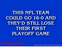 """Cincinnati Bengals, Jeopardy, and Nfl: THIS NFL TEAM  COULD GO 16-0 AND  THEY'D STILL LOSE  THEIR FIRST  PLAYOFF GAME  http/www.says it.com/jeopardy/ """"Who are: the Cincinnati Bengals?"""" JeopardySports"""