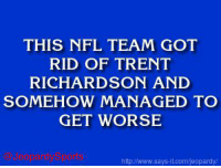 "Indianapolis Colts, Jeopardy, and Nfl: THIS NFL TEAM GOT  RID OF TRENT  RICHARDSON AND  SOMEHOW MANAGED TO  GET WORSE  http www.says it.com/jeopardy/ ""Who are: the Indianapolis Colts?"" JeopardySports"