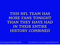 "Facebook, Nfl, and Sports: THIS NFL TEAM HAS  MORE FANS TONIGHT  THAN THEY HAVE HAD  IN THEIR ENTIRE  HISTORY COMBINED  @JeopardySports facebook.com/JeopardySports ""Who are: the Tennessee Titans?"" #JeopardySports #TENvsNE https://t.co/DqzvZuwG3H"