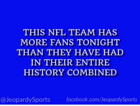 """Facebook, Nfl, and Sports: THIS NFL TEAM HAS  MORE FANS TONIGHT  THAN THEY HAVE HAD  IN THEIR ENTIRE  HISTORY COMBINED  @JeopardySports facebook.com/JeopardySports """"Who are: the Jacksonville Jaguars?"""" #JeopardySports #JAXvsNE https://t.co/eEBP3k7Rzt"""