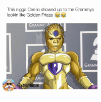 This man @ceelogreen was bugged the fuck out last night 😂😂😂lookin like Golden Frieza, Goldar from Power Rangers, a Gold medallion I could keep goin lmao dbz grammys ceelogreen: This nigga Cee lo showed up to the Grammys  lookin like Golden Frieza  GRAMMY  GRAM  AMM  ABOYROSHI This man @ceelogreen was bugged the fuck out last night 😂😂😂lookin like Golden Frieza, Goldar from Power Rangers, a Gold medallion I could keep goin lmao dbz grammys ceelogreen