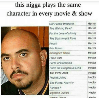 Dunk, Family, and Funny: this nigga plays the same  character in every movie & show  Hector  Our Family Wedding  Hector  The Walking Dead  Hector  For the Love of Money  Hector  The Dark Knight Rises  Hector  Recoil  Hector  Filly Brown  Hector  Kidnapped Souls  Hope Cafe  Hector  Hector  Force of Execution  Enter the Dangerous Mind Hector  Hector  The Pizza Joint  Hector  Pocket Listing  Hector  Hector  Furious 7  Hector  Vigilante Diaries  Hecial  Varsity Dunks Lmaooo tagafriend FollowMeForFunnyPostDaily