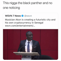 Akon, Funny, and News: This nigga the black panther and no  one noticing  WSVN 7 News @wsvn  Musician Akon is creating a futuristic city and  his own cryptocurrency in Senegal  wsvn.com/entertainment/... 💯👀 S-O @Akon 👉🏽(via: Sober_Lama-Twitter)