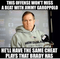 Bill Belichick said the Patriots offense won't change with Jimmy Garoppolo in at QB: THIS OFFENSEWON'T MISS  A BEAT WITH JIMMY GAROPPOLO  NEW DINGLAR  FOOTBA LI  HELL HAVE THE SAME CHEAT  PLAYS THAT BRADY HAS Bill Belichick said the Patriots offense won't change with Jimmy Garoppolo in at QB