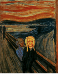 This painting was created by Edvard Munch after watching the rap battle between Supa Hot Fire and B-Bone. (2013): This painting was created by Edvard Munch after watching the rap battle between Supa Hot Fire and B-Bone. (2013)