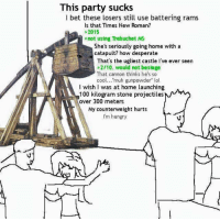 "Desperate, Hungry, and I Bet: This  party sucks  I bet these losers still use battering rams  Is that Times New Roman?  >2015  not using Trebuchet MS  She's seriously going home with a  catapult? how desperate  That's the ugliest castle I've ever seen  2/10, would not besiege  That cannon thinks he's so  cool  muh gunpowder"" lol  wish I was at home launching  100 kilogram stone projectiles  over 300 meters  My counterweight hurts  I'm hungry"