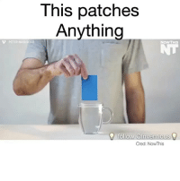 Iphone, Memes, and Swag: This patches  Anything  v PETER MARIGOLD  NOW THIS  follow Inventious  Cred: Now his Follow @inventastic 💡for more Tag someone that needs this! Credit: NowThis DIY Awesome cool craft love like 20likes amazing smile iphone look swag girl boy followme