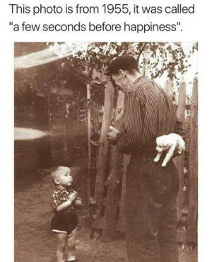 "Memes, Happiness, and 🤖: This photo is from 1955, it was called  a few seconds before happiness""."