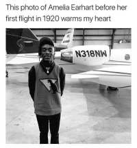 Funny, Goals, and Love: This photo of Amelia Earhart before her  first flight in 1920 warms my heart  3108  N318NW Let's hold hands and all go to hell yall @larnite • ➫➫➫ Follow @Staggering for more funny posts daily! • (Ignore: memes like4like funny music love comedy me goals)