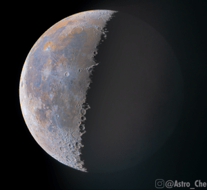 This photo of the moon I took shows mineral deposits invisible to the naked eye.: This photo of the moon I took shows mineral deposits invisible to the naked eye.