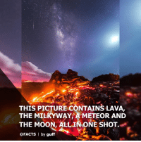 Facts, Memes, and Hawaii: THIS PICTURE CONTAINS LAVA.  THE MILKYWAY METEOR AND  THE MOON, ALL IN ONE SHOT  @FACTS | by guff (from @facts) This photo contains lava, the Milky Way, a meteor and the moon, all in one shot. It was captured by photographer @mikemezphoto at Volcano National Park on the Big Island of Hawaii. milkyway lava hawaii facts For more, follow @facts