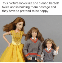 The scariest part about the belle doll is the different colored skin tones from the face to the body. The middle one actually looks like her, tho.: this picture looks like she cloned herself  twice and is holding them hostage and  they have to pretend to be happy The scariest part about the belle doll is the different colored skin tones from the face to the body. The middle one actually looks like her, tho.