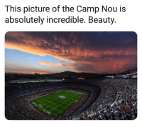 Memes, 🤖, and Camp: This picture of the Camp Nou is  absolutely incredible. Beauty