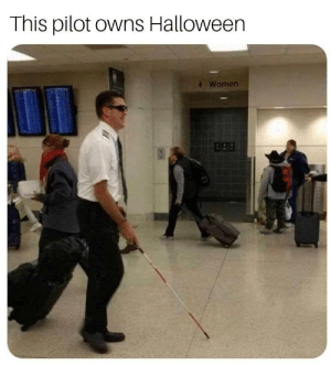 The Red Striped cane means he is deaf as well by StrepZ_ MORE MEMES: This pilot owns Halloween  Women  apa The Red Striped cane means he is deaf as well by StrepZ_ MORE MEMES