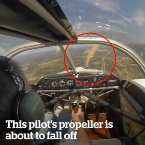 Fall, How, and Propeller: This pilot's propeller is  about to fall of This pilot's propeller is about to fall off and how he reacts is incredible! 😱😳