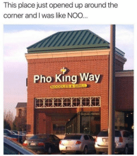 Memes, 🤖, and Pho: This place just opened up around the  corner and I was like NOO...  Pho King Way  NOODLES GRILL I was like... (@bogus.memes)
