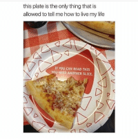 ..: this plate is the only thing that is  allowed to tell mehow to live my life  IF YOU CAN READ THIS  YOU NEED ANOTHER SLICE. ..