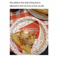 if you can read this: this plate is the only thing that is  allowed to tell me how to live my life  IF YOU CAN READ THIS  YOU NEED ANOTHER SLICE.