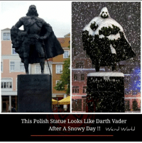 Darth Vader: This Polish Statue Looks Like Darth Vader  After A Snowy Day!! VWeird Worl