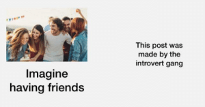 Just imagine...: This post was  made by the  introvert gang  Imagine  having friends Just imagine...
