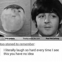 Lmao, Memes, and Potato: This potato  TotalyLooksuko com Paul McCartney  too-stoned-to-remember:  I literally laugh so hard every time I see  this you have no idea LMAO