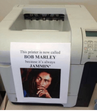 Bob Marley, Jammin, and Printer: This printer is now called  BOB MARLEY  because it's always  JAMMIN' Fixed it
