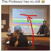 Chill, Dating, and Funny: This Professor has no chill  elative Dating  Not the Alabama kind) 😂😂 - - - - funnyshit funmemes100 instadaily instaday daily posts fun nochill girl savage girls boys men women lol lolz follow followme follow for more funny content 💯 @funmemes100