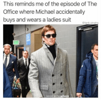 Click, Funny, and Meme: This reminds me of the episode of The  Office where Michael accidentally  buys and wears a ladies suit  @tank.sinatra  MADE WITH MOMUS I mean he can pull it off, but still (I'm nominated for a @shortyawards in the Best Meme-Parody category. Click the link in my bio and vote if I've ever made you laugh. And post a screenshot in your story for a repost)