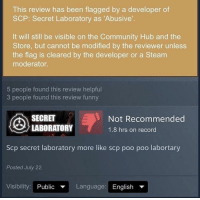 This Review Has Been Flagged by a Developer of SCP Secret Laboratory