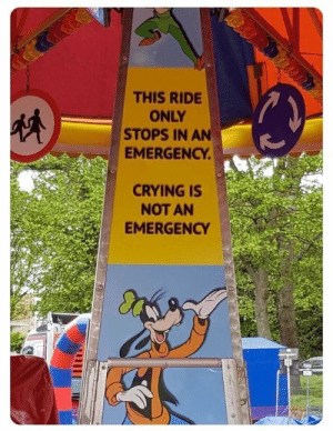 Me😭irl: THIS RIDE  ONLY  STOPS IN AN  EMERGENCY  CRYING IS  NOT AN  EMERGENCY Me😭irl