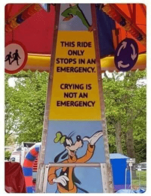 Meirl: THIS RIDE  ONLY  STOPS IN AN  EMERGENCY  CRYINGIS  NOT AN  EMERGENCY Meirl