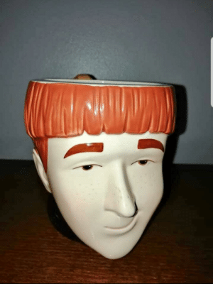 Facebook, Book, and Ron Weasley: This Ron Weasley mug someone was selling on Facebook. I know it's more based on the book version, but just look at it. Smug sonovabitch.