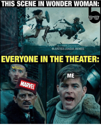 Memes, Justice, and Justice League: THIS SCENE IN WONDER WOMAN:  IGITHEBLERDVISION  @JUSTICE. LEAGUE.MEMES  EVERYONE IN THE THEATER:  Rotten  ME [Follow @theblerdvision] If you didn't think this scene was awesome you need to have your pulse checked. Because you're obviously dead inside. *Mic drop* - Aqualad