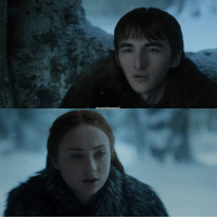 """Jesus, Memes, and Fuck: This scene man. Sansa - """"So can you explain this three eyed raven thing to me?"""" . Bran - """"You looked pretty on the night you were raped."""" What a way of explaining your powers bran. Jesus. Show some emotion, like what the actual fuck😂😂"""