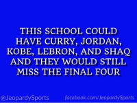 """Facebook, School, and Shaq: THIS SCHOOL COULD  HAVE CURRY, JORDAN,  KOBE, LEBRON, AND SHAQ  AND THEY WOULD STILL  MISS THE FINAL FOUR  @JeopardySports facebook.com/JeopardySports """"What is: the University of Kansas?"""" #JeopardySports #KUbball https://t.co/gjZaNrVlEC"""