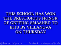 """What is: Radford?"" #JeopardySports #MarchMadness https://t.co/IfIS1uY2eH: THIS SCHOOL HAS WON  THE PRESTIGIOUS HONOR  OF GETTING SMASHED TO  BITS BY VILLANOVA  ON THURSDAY  @JeopardySports facebook.com/JeopardySports ""What is: Radford?"" #JeopardySports #MarchMadness https://t.co/IfIS1uY2eH"
