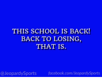 "Facebook, School, and Sports: THIS SCHOOL IS BACK!  BACK TO LOSING  THAT IS.  @JeopardySports facebook.com/JeopardySports ""What is: the University of Texas?""  #JeopardySports #TEXASvsMD https://t.co/aItjOf4PE5"
