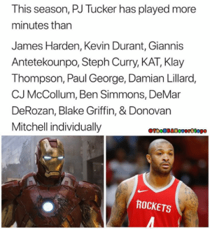 PJ Tucker is Iron man. A super hero. An icon. The GOAT. - - @TheNBANeverStops 🏀: This season, PJ Tucker has played more  minutes than  James Harden, Kevin Durant, Giannis  Antetekounpo, Steph Curry, KAT, Klay  Thompson, Paul George, Damian Lillaro  CJ McCollum, Ben Simmons, DeMar  DeRozan, Blake Griffin, & Donovan  Mitchell individually  ROCKETS PJ Tucker is Iron man. A super hero. An icon. The GOAT. - - @TheNBANeverStops 🏀