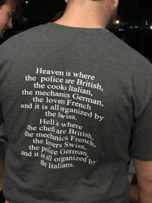 This shirt imagines heaven and hell, as run by several European nations: This shirt imagines heaven and hell, as run by several European nations