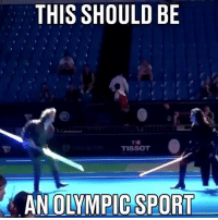 Memes, School, and Awesome: THIS SHOULD BE  TISSOT  AN OLYMPIC SPORT What do you think, do you agree? 🔥 Via School of saber fighting. Also I'm pretty sure I've posted this before but it's too awesome not to share again. starwarsfacts