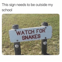 Funny, Memes, and School: This sign needs to be outside my  school  WATCH FOR  SNAKES SarcasmOnly