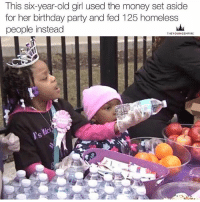 Memes, 🤖, and Daughter: This six-year-old girl used the money set aside  for her birthday party and fed 125 homeless  people instead  THE YOUNGEMPIRE This is so beautiful, this is what my daughter will be like I'm sure. I don't have a daughter, I will in about 2 years lol, got some building to do first, I need an African countryside farm, also someone to have a daughter with, must be vegan, knowledge of self, workout and be a general freedom fighter 😂😂😂