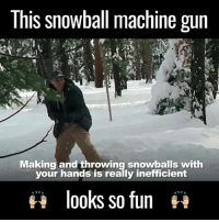 Memes, Machine Gun, and 🤖: This snowball machine gun  Making and throwing snowballs with  your hands is really inefficient  looks so fun That's an unfair snowball fight  by Mark Rober