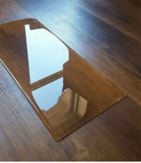 Water, Shape, and This: This spilled water conforming to the shape of the tile underneath