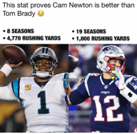 brady: This stat proves Cam Newton is better than  Tom Brady  8 SEASONS  * 4,770 RUSHING YARDS 1,000 RUSHING YARDS  19 SEASONS  NFLHateMemes  12